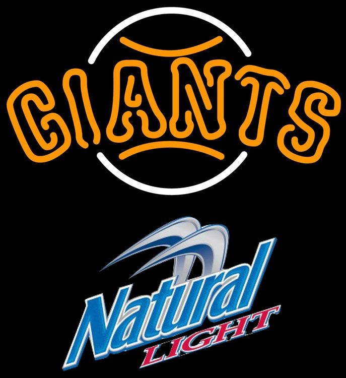 Natural Light San Francisco Giants MLB Neon Sign 3 0012, Natural Light with MLB Neon Signs | Beer with Sports Signs. Makes a great gift. High impact, eye catching, real glass tube neon sign. In stock. Ships in 5 days or less. Brand New Indoor Neon Sign. Neon Tube thickness is 9MM. All Neon Signs have 1 year warranty and 0% breakage guarantee.