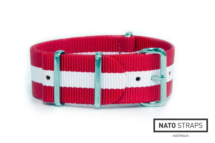 Red and White NATO Strap | Replacement Watch Strap | Watch Straps Australia