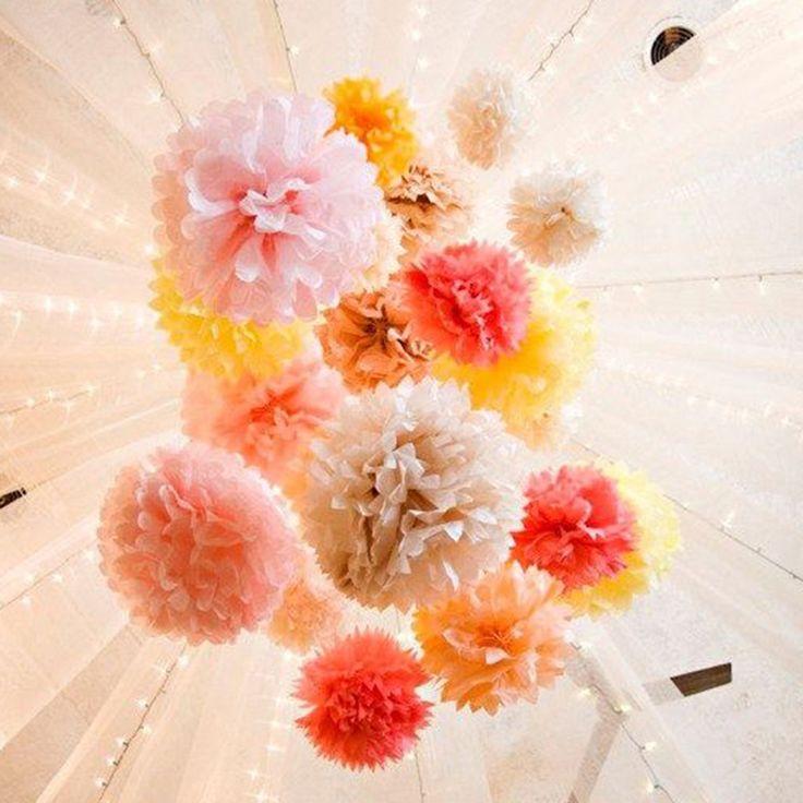"""Goedkope Big 15 stks gemengde size (20 cm, 25 cm, 35 cm) bruiloft decoratie bloem tissuepapier pom poms baby douche bruiloft evenementen party leverancier, koop Kwaliteit Event& party benodigdheden rechtstreeks van Leveranciers van China: materiaal100 % zuivere houtpulp papier als grondstof, niet- toxisch en smaakloosgrootte8""""( 20cm), 10""""( 25cm), 14""""( 35cm)"""