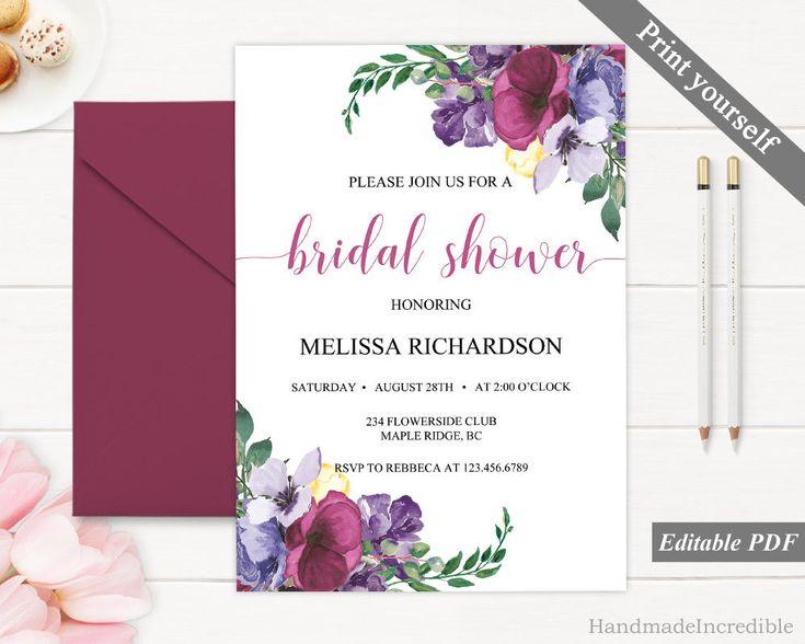 167 best Bridal Shower Invitation images on Pinterest Invitation - bridal shower invitation templates download