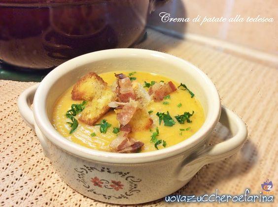 La crema di patate alla tedesca con pancetta è una ricetta semplice ma sostanziosa; ottimo come piatto unico accompagnato da piccoli crostini di pane.