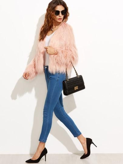 Pink faux fur jacket the perfect trendy coat for this fall winter season. Cuff(Cm): XS:25cm, S:26cm, M:27cm, L:28cm Bicept Length(Cm): XS:34cm, S:35cm, M:36cm, L:37cm Fabric: Fabric has no stretch Sle