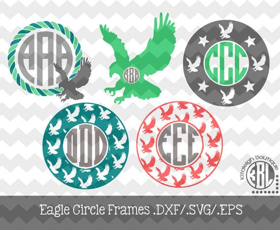 Eagle Monogram Frames .DXF/.SVG/.EPS Files for use with your Silhouette Studio Software