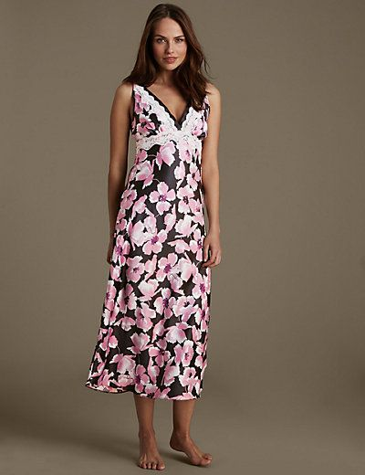 Satin Floral Long Nightdress | M&S