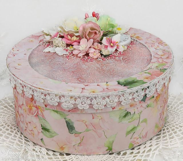 ScrapBerry's:  Pink mixed media spring floral box made by Tracey Sabella