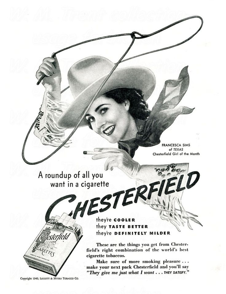 From Boston in 1940 an advertisement for Chesterfield cigarettes.