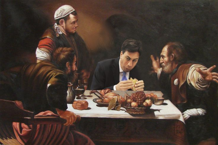 Caravaggio – Supper at Emmaus with Ed Miliband  eating a bacon sandwich.