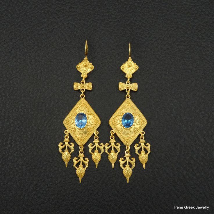 Blue Topaz Cz Earrings Etruscan Style 925 Sterling Silver 22K Gold Plated Greek Handmade Art Luxury