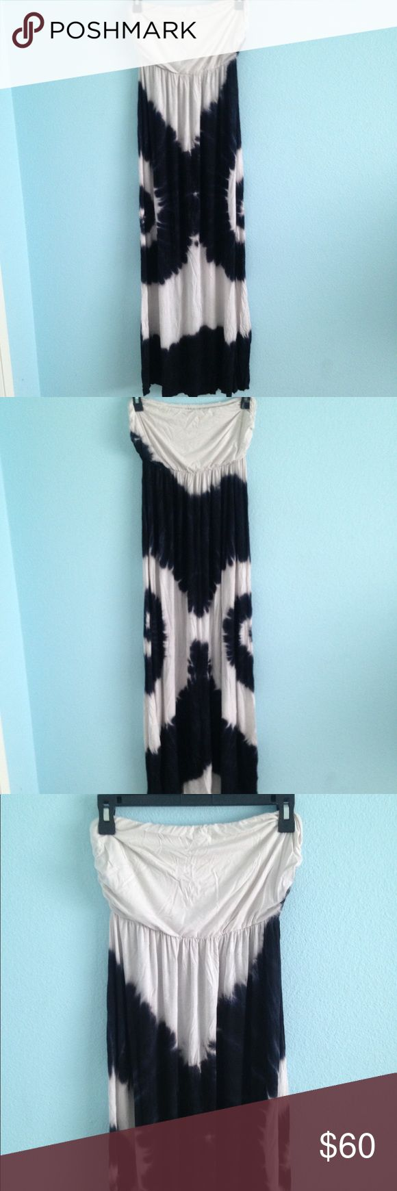 Black and white maxi tie dye dress I perfect condition. No tags, never worn! Super soft stretchy material. Not see through. Elastic under the boob area Urban Outfitters Dresses Maxi
