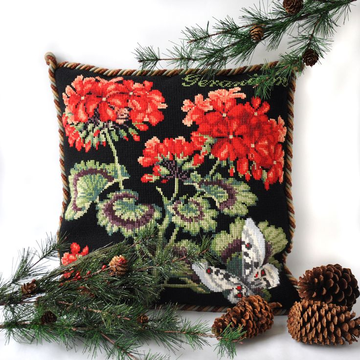 The Elizabeth Bradley Geranium Needlepoint Kit on black background from the Cottage Garden Collection.