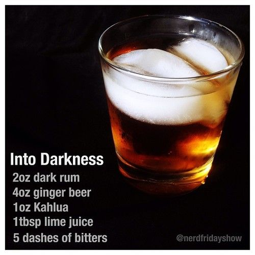 Into Darkness: 2 oz. dark rum, 4 oz. ginger beer, 1 oz. Kahlua, 1 Tbsp. lime juice, 5 dashes of bitters