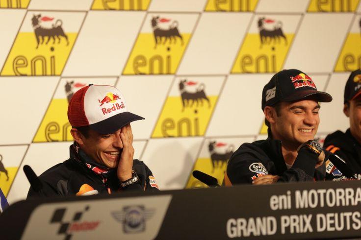 Marquez and Pedrosa laughing, German MotoGP 2014