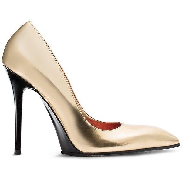 Calvin Klein Women's Metallic Calf + Specchio Stiletto (3.155 RON) ❤ liked on Polyvore featuring shoes, gold, stiletto heel shoes, heels stilettos, metallic gold shoes, stiletto high heel shoes and calvin klein shoes