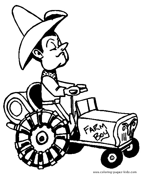 Farmer on a tractor Farm color page, family people jobs coloring pages, color plate, coloring sheet,printable coloring picture
