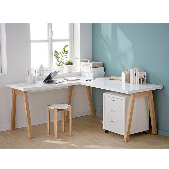 Bureau blanc d\'angle avec piétement en bois massif - Oslo - Bureaux ...