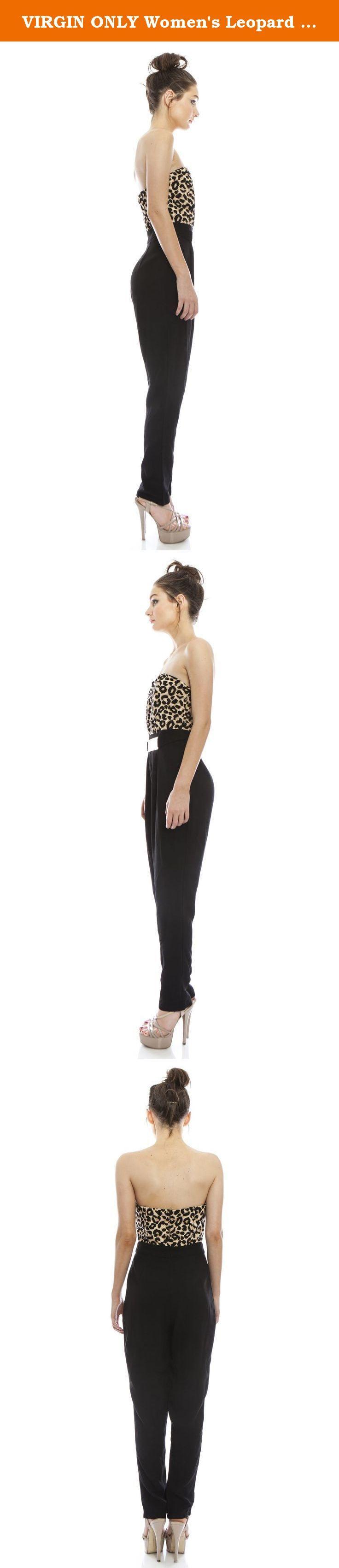 VIRGIN ONLY Women's Leopard Print Jumpsuit (Brown, Medium). Animal print jumpsuit embellished with removable belt.