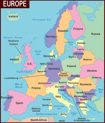 Europe Countries Map including European waters