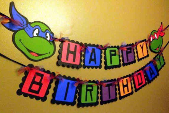 Ninja Turtles Inspired Happy Birthday Banner