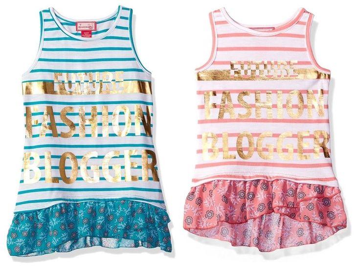 Dreamstar Girls Foil Screen Stripe Tank Floral Chiffon Ruffle Hem Top Teal Coral #Dreamstar #CasualSchoolEveryday