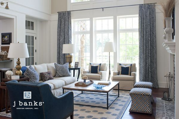 Transitional Residential Design -- like the curtains and shots of blue