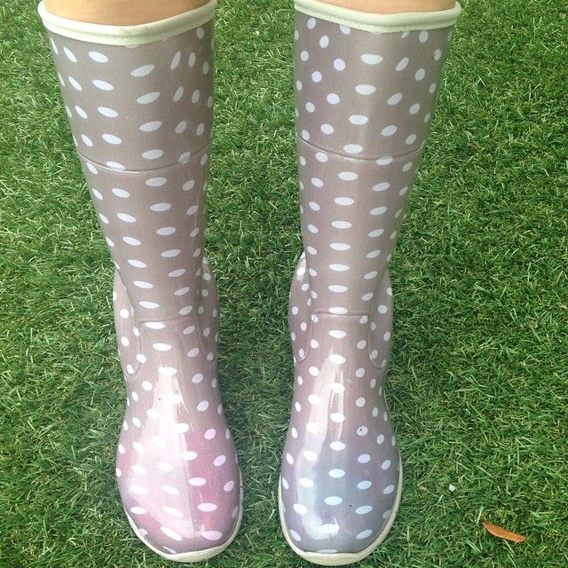 Very Cute New Women S Rubber Rain Boots Gray Polka Dots