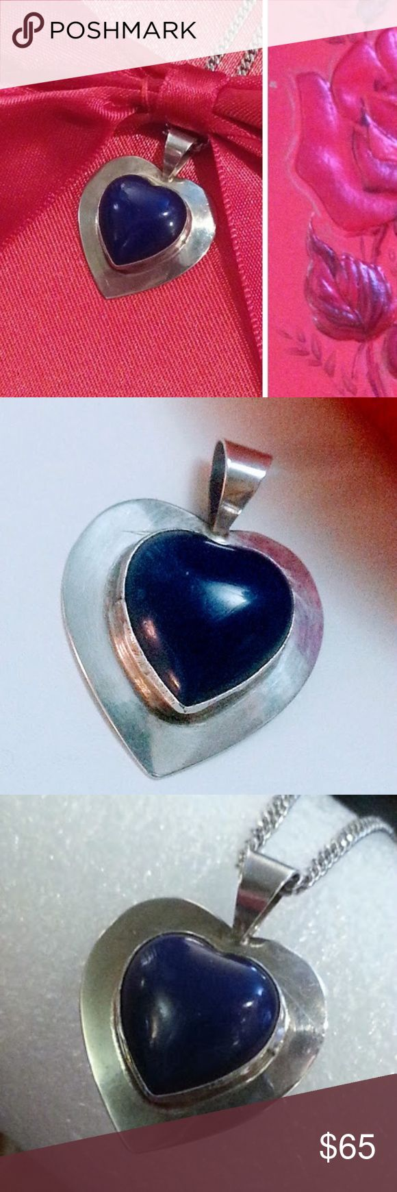 Vintage sterling & blue bakelite heart pendant EVC A darling choice for a Velentine's Day gift!!  Vintage pendant in the shape of a heart with a carved heart shape piece of blue bakelite in the center. Sweet & somewhat reminiscent of the WW2 era, for some reason. I see Navy when I look at this. In excellent vintage condition  The listing is for the pendant only, if you need/want a chain, sterling or silver plated, let me know. I have several for sale and can create a listing for you to look…