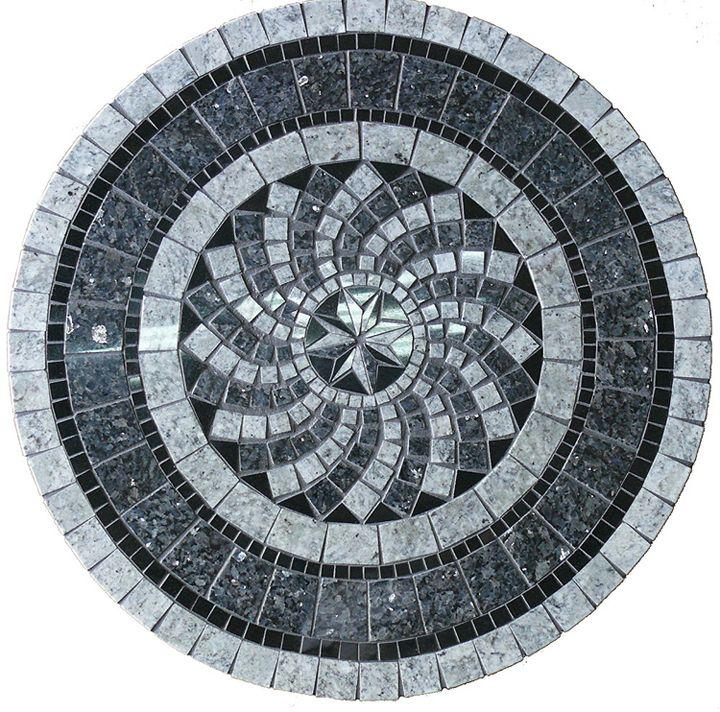 Gray North Star Mosaic Tile Table Top