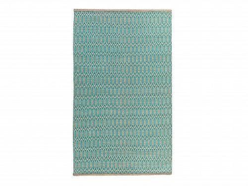 Dywan turkusowo-beżowy - 120x170 cm - bawełna - juta - SILOPI_675028