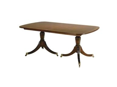 I'm okay with this English style pedestals.  Just don't like the heavy pedestals.          Shop for Baker Double Pedestal Table, 4638, and other Dining Room Dining Tables at Goods Home Furnishings in North Carolina Discount Furniture Stores Outlets. A staple in the traditional lexicon, this double pedestal table features a turned urn post atop a reeded tripod base on casters. The reeded edge top features a flat cut mahogany field separated from a satinwood border by a tulip wood inlay.