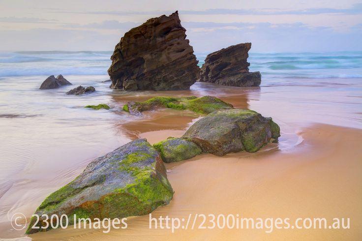 Rocks at Redhead Beach at Sunset - Rocks at Redhead Beach, Lake Macquarie, NSW, Australia at Sunset during low tide.