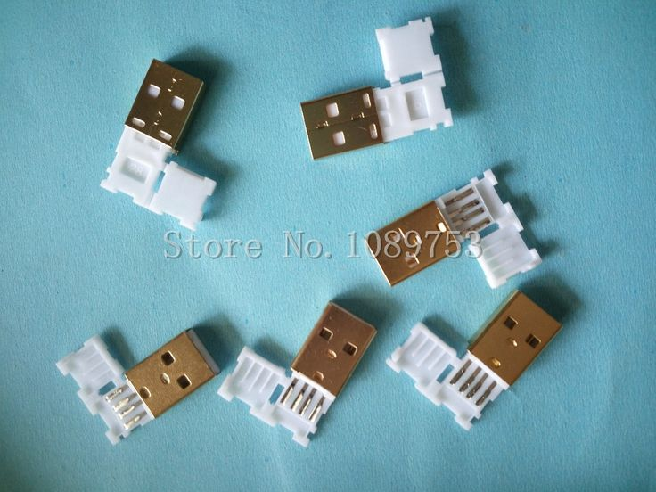 10pcs USB Male Plug Connector With White Folding shell Gold Plated Welding Type Charge Date Line DIY Plugs