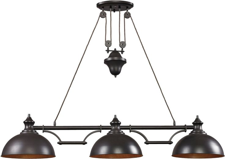 Off Farmhouse Oiled Bronze Pulley Adjustable Height Three Light Billiard  And Island Light By Elk Lighting. @ Farmhouse 3 Light Billiard In Oiled  Bronze