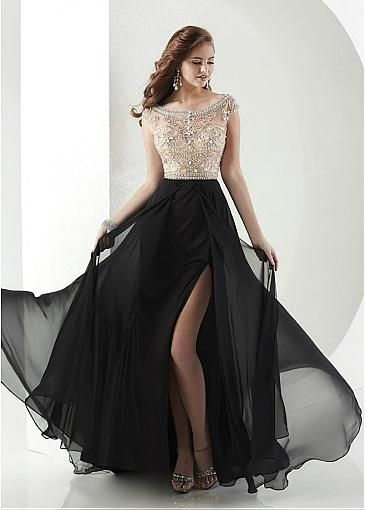 Chic Tulle & Chiffon Bateau A-Line Prom Dresses With Beads & Rhinestones