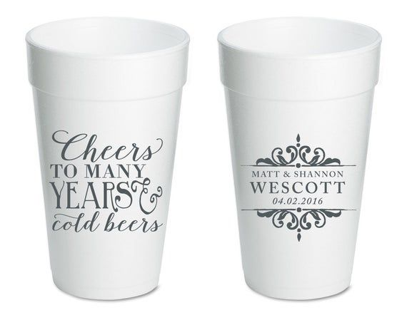 Anniversary Party Cup Cheers To Many Years Wedding Cups Etsy In 2020 Birthday Party Cups Party Cups Fishing Birthday
