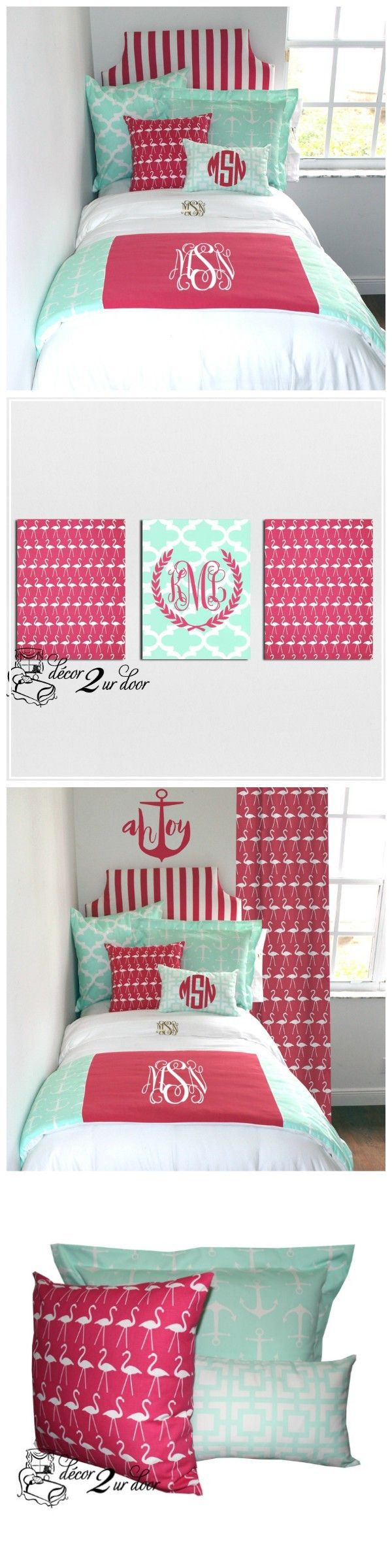 Mint And Hot Pink Anchors Nautical Designer Teen Girl U0026 Dorm Room Bedding  Set