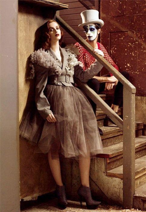 circus, clown, colour, editorial, fashion, grey