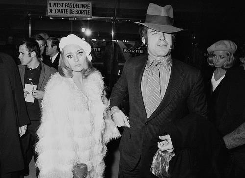 "Faye Dunaway & Warren Beatty at the ""Bonnie & Clyde"" premiere in Paris, 1968."