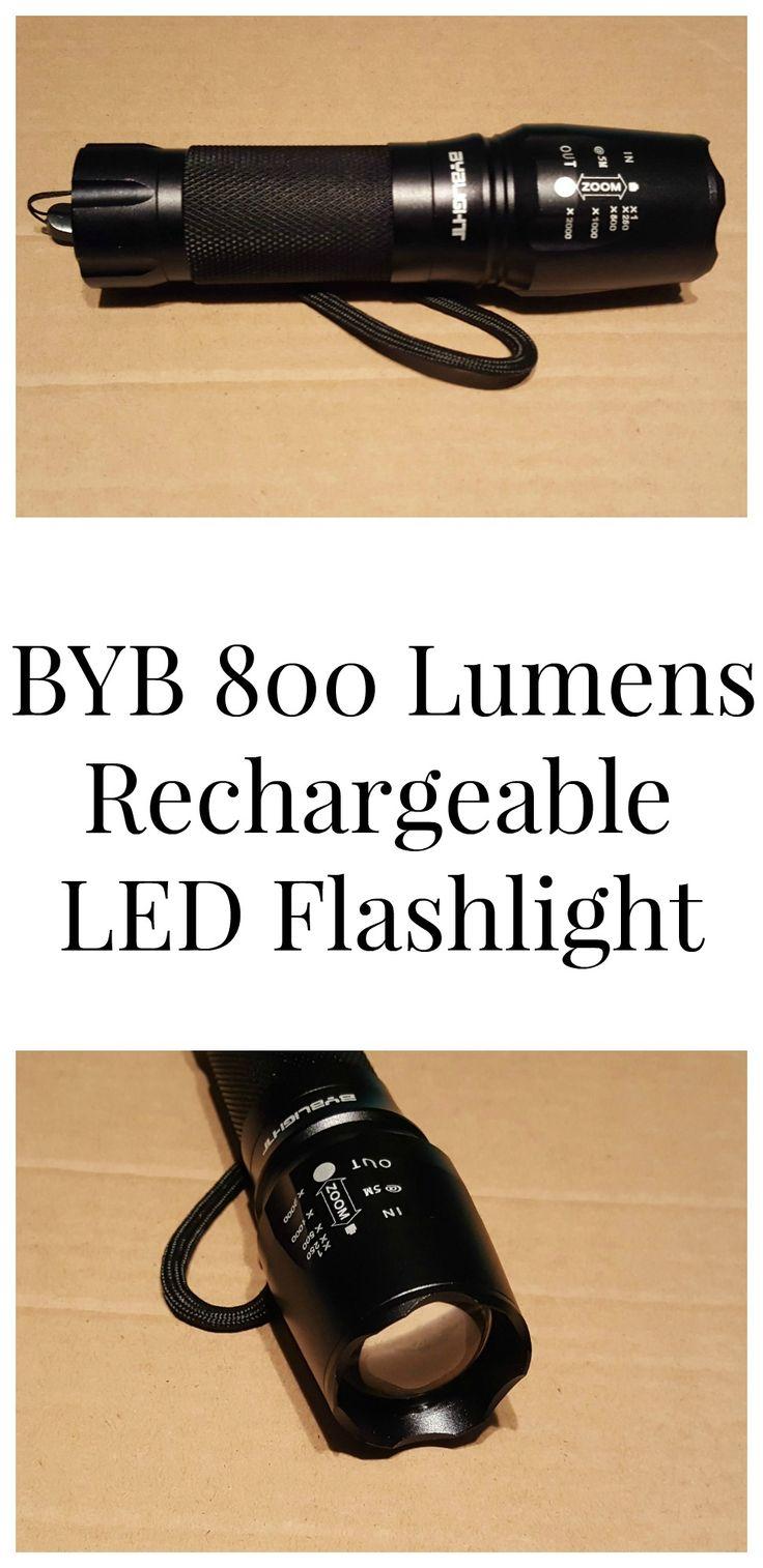 BYB 800 Lumens Rechargeable LED Flashlight