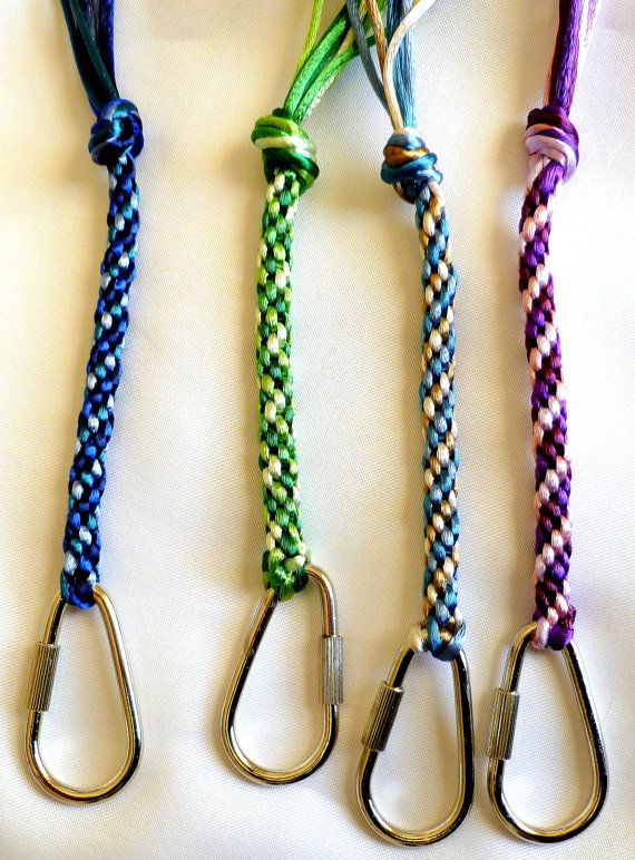 Kumihimo keychains in 3 colors Dk Blue Green & by TheBeckoningCat, $5.00