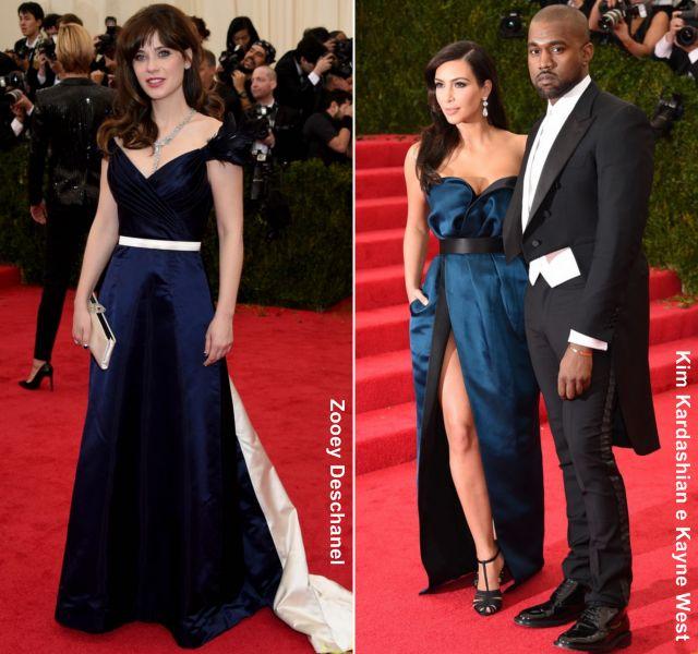 La actriz Marion Cotillard, que eligió un vestido en azul con transparencias de Dior Couture y unos zapatos de la misma firma en color dorado y rojo. El cantante Kany West y Kim Kardashian, que se decantaron por diseños de Lanvin.