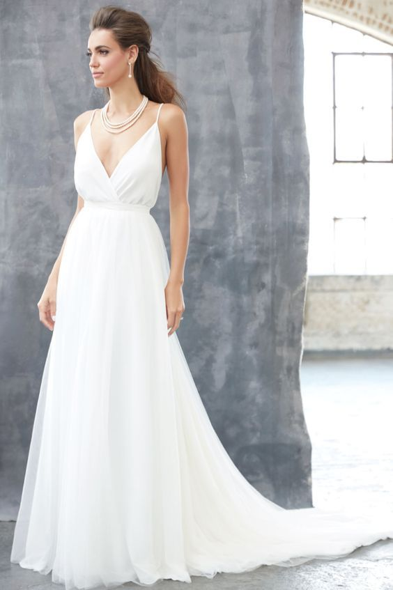 Featured Dress: Madison James; Simple A-line Spaghetti strap wedding dress idea.