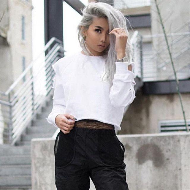 Cut Out Long Sleeve T-shirt Female Autumn Top Hip Hop T shirt Women 2016 Stylish Women Tops Rock White T Shirt Women Plus Size
