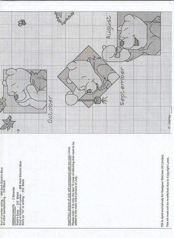 Winnie the Pooh Cross Stitch Months of Year 4of5
