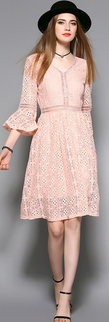 Pink V Neck Flare Sleeves Lace Dress