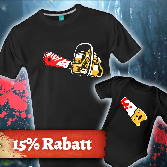 Vater, Sohn, Father, Son, Papa, Horror, Kettensäge, lustig, Chainsaw, Saw, Killer, Dead, Undead, Zombies, Untote, awesome, Vatertag, Vatertagsgeschenk, Vater und Sohn, Vater und Tochter, Vaterschaft, Geschenk, Geschenkidee, Partnershirt, matching shirts