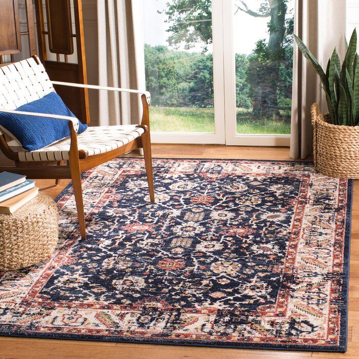 Sechovicz Navy Ivory Area Rug In 2020 Area Rugs Rugs Vintage Boho