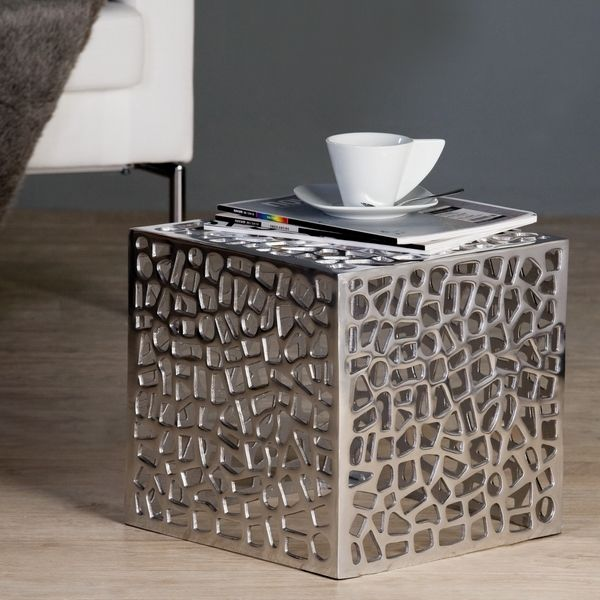 Table basse cage finition aluminium http deco maison for Table de chevet en fer