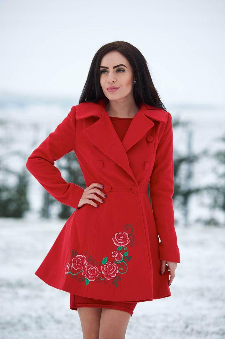 Palton StarShinerS Brodat Rose Desire Red