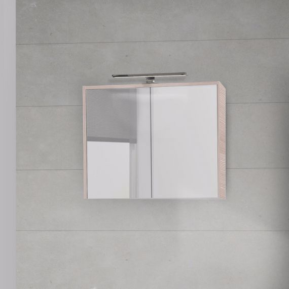 Laat de tropen weerspiegelen.    Amazi Premium Spiegelkast Licht Hout - 60 cm 1