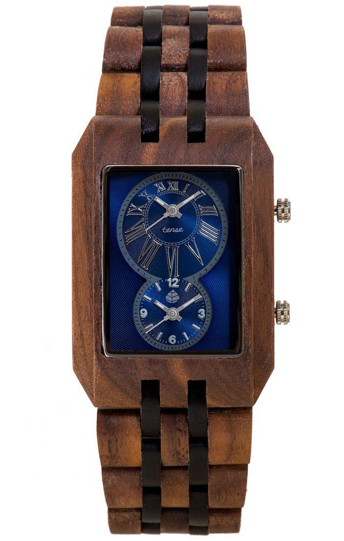 Tense Men's Inuk Dual Time Watch in American Walnut and Dark Sandalwood - $219 at tensewatch.com
